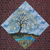 "In progress - Tree Quilt<br /> Mice and willow 01/2012<br /> 14 1/2"" block"