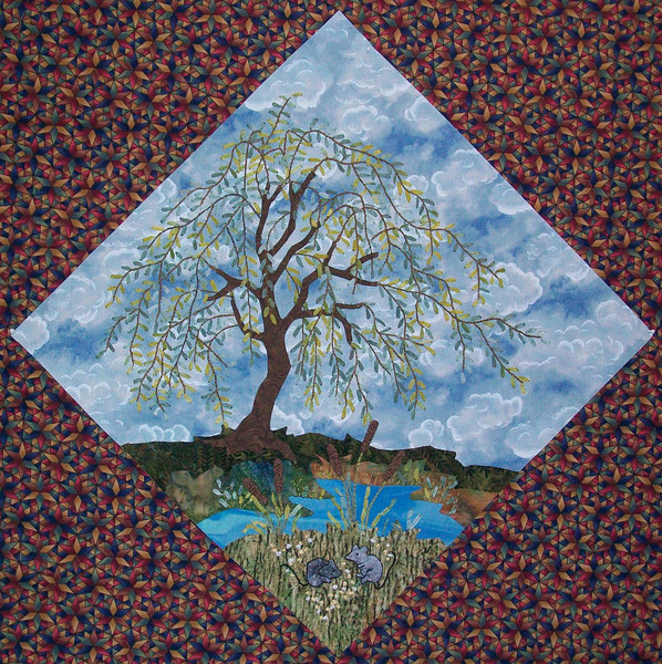 """In progress - Tree Quilt<br /> Mice and willow 01/2012<br /> 14 1/2"""" block"""