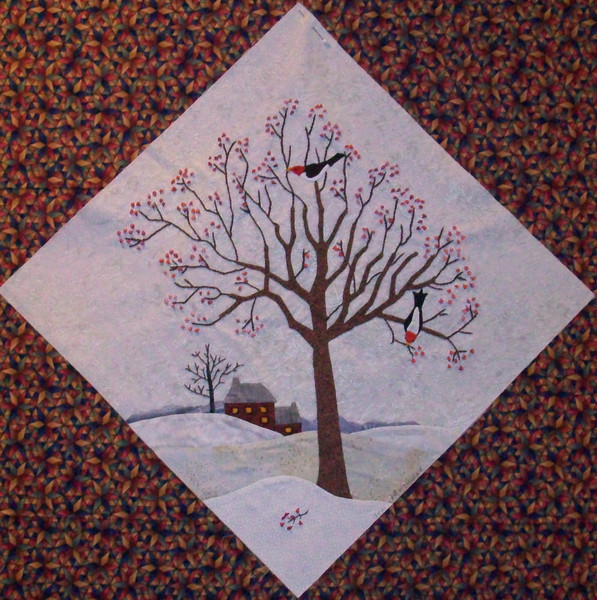 "In progress - Tree Quilt<br /> Woodpeckers & Hawthorne tree 02/2010<br /> 14 1/2"" block"