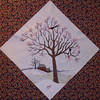 "In progress - Tree Quilt<br /> Woodpeckers & Hawthorne tree 02/2010<br /> 14 1/2"" block"
