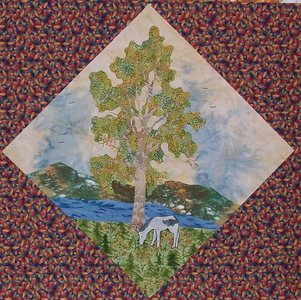 In progress - Tree quilt<br /> 14-1/2 inch block<br /> Sycamore & pony