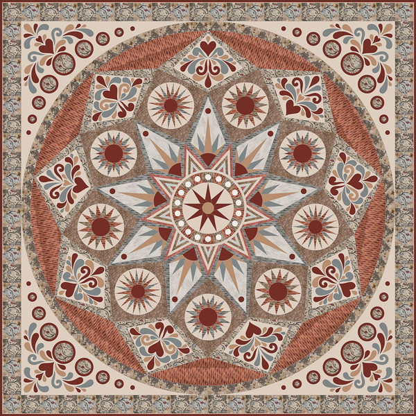 "In progress - Sonoma Star<br /> 88"" x 88""<br /> thequiltshow.com's 2012 block of the month.  9.5 for complexity.  (TQS photo.)"