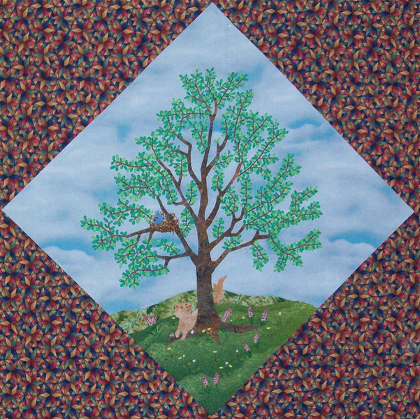 In progress - Tree Quilt<br /> Sweet gum with cat & blue birds