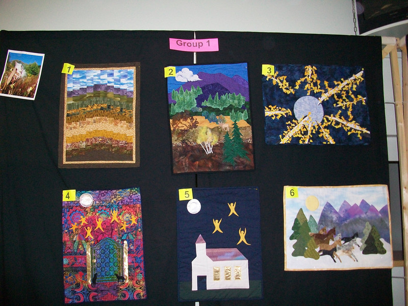 10/2010 Piecing Partners Whisper Challenge Group 1.  Quilter1-Bargello landscape. Quilter2-Applique landscape. Quilter3-ASpens reaching for the moon. Quilter4-Reaching for the moon. Quilter5-Reaching for heaven? Quilter6-Running free