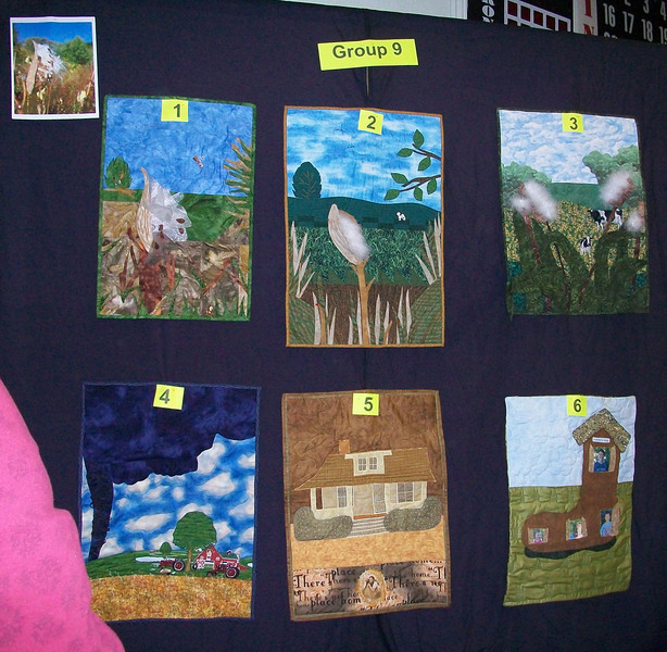 10/2010 Piecing Partners Whisper Challenge Group 9.  Quilter1-Milkweed pod in landscape.  Quilter2-Again.  Quilter3-With cows.  Quilter4-Farm with tornado (another lady from KS).  Quilter5-Dorothy's house.  Quilter6-Self portrait or quilter's house.