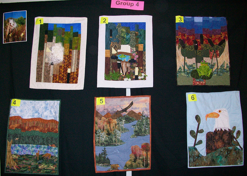 10/2010 Piecing Partners Whisper Challenge Group 4.  Quilter1-Milk weed pod.  Q2-Waterfall and water with frog.  Q3-Frog in pond.  Q4-Wildlife by pond.  Q5-Eagle over water.  Q6-Eagle.