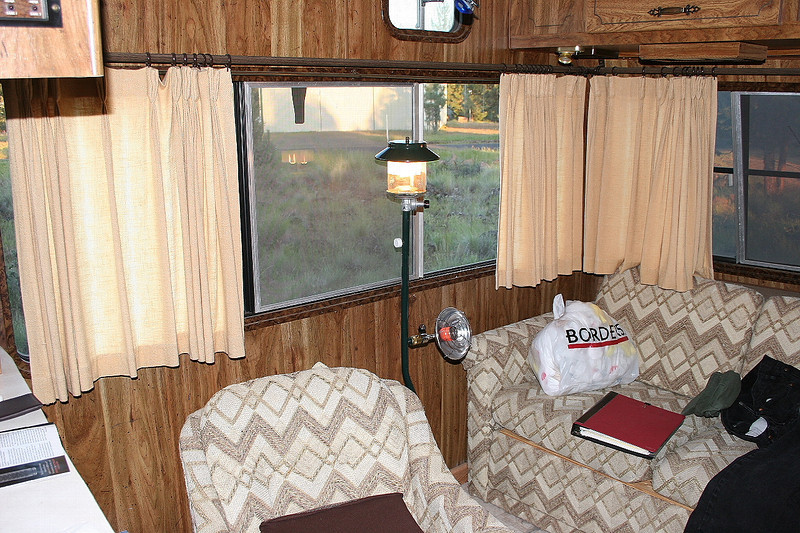 Being completely off-grid here, propane and solar provide lighting, heat, and battery charging.