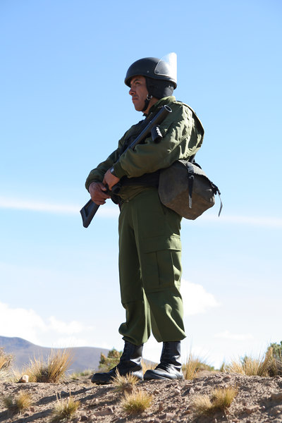 Bolivian Military soldier, heavily armed.  The soldiers referred to the confrontation as a ¨war,¨ which was interesting to me since the miners are Bolivian citizens and there was no intention of violence in the beginning.