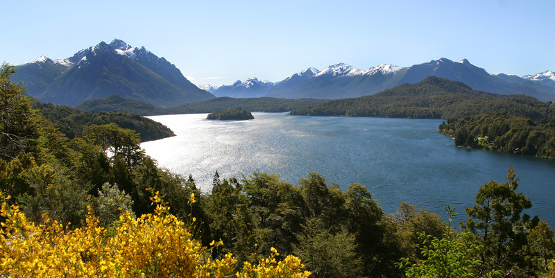 A panoramic view of lake Moreno Lake and Mascardi Lake just west of San Carlos de Bariloche in Argentina's Lake District.  I took this photo during a day of bike riding the lakeshore and stopping at small brewpubs along the way.  It was an awesomely beautiful day.