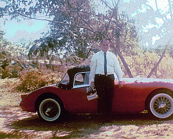 A Slimmer me and the 59 MGA at home in Columbia Miss.