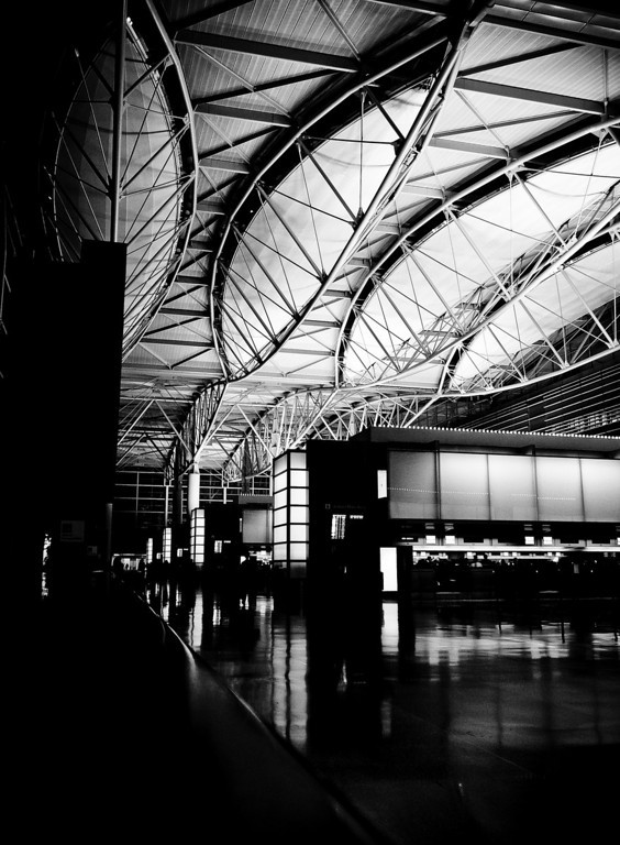 San Francisco International Airport.   This picture was taken at the departure level in the late evening with my Panasonic Lumix TZ3 placed on a counter.
