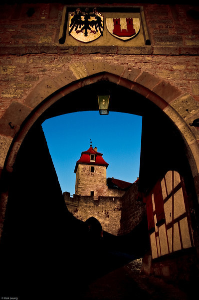 Rothenburg, Germany.  Through one of its gate in late afternoon.