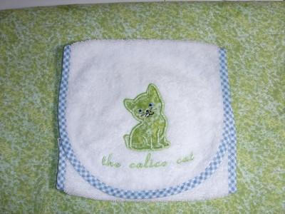 Burp cloth: The Calico Cat