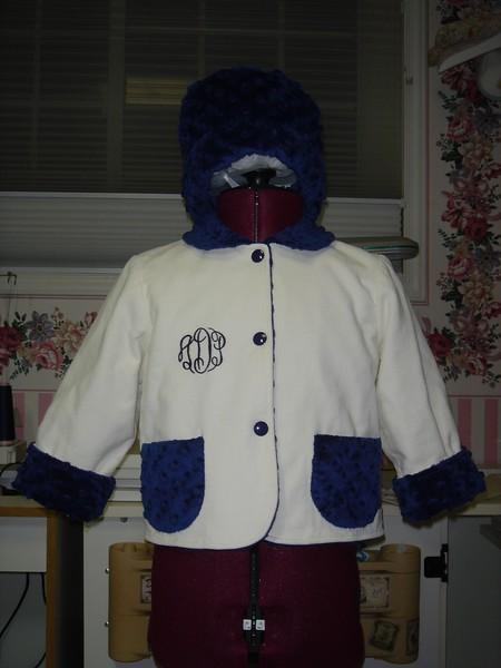 Allison's jacket & hat, front view