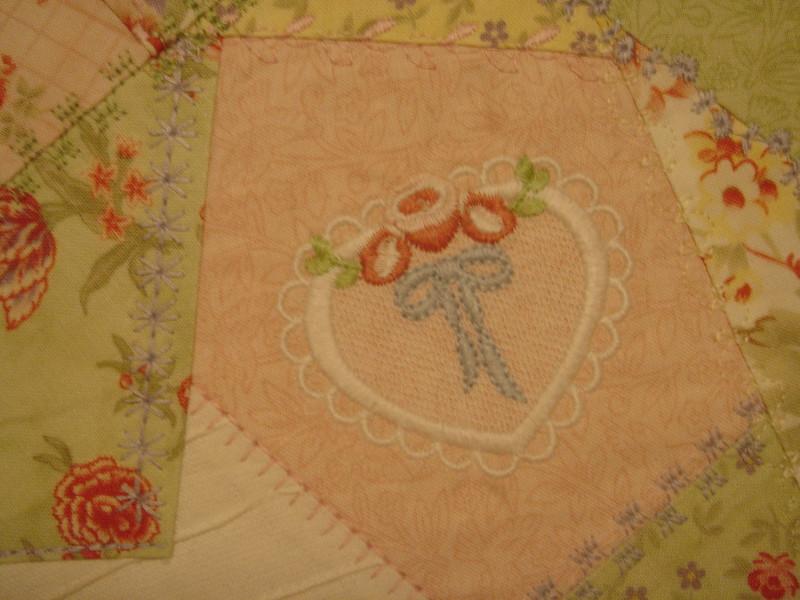 Closeup of embroidery design