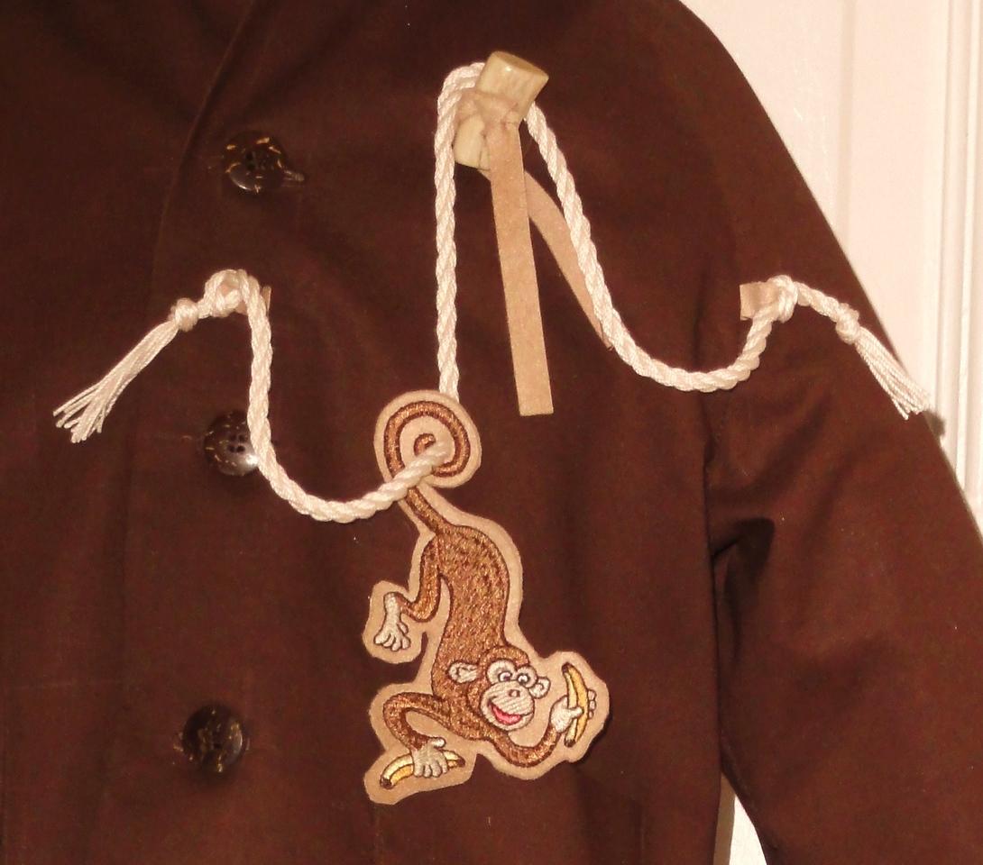Closeup of monkey on jacket front