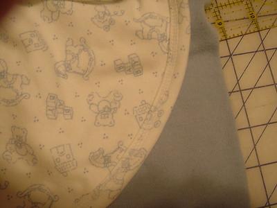 Closeup of underside of coverstitching