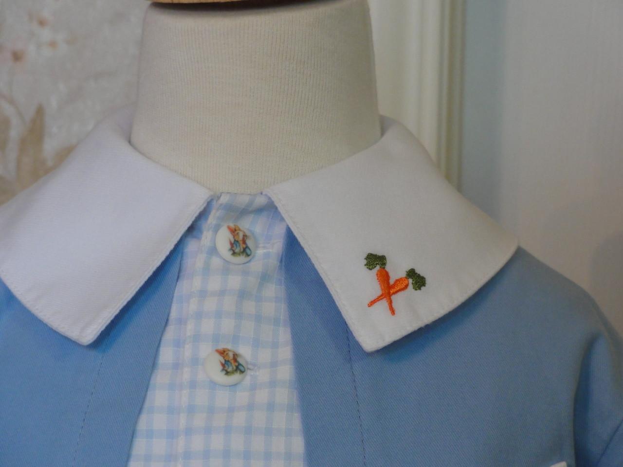 Closeup of collar embroidery