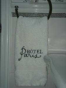 """""""Paris"""" hand towel at sink"""