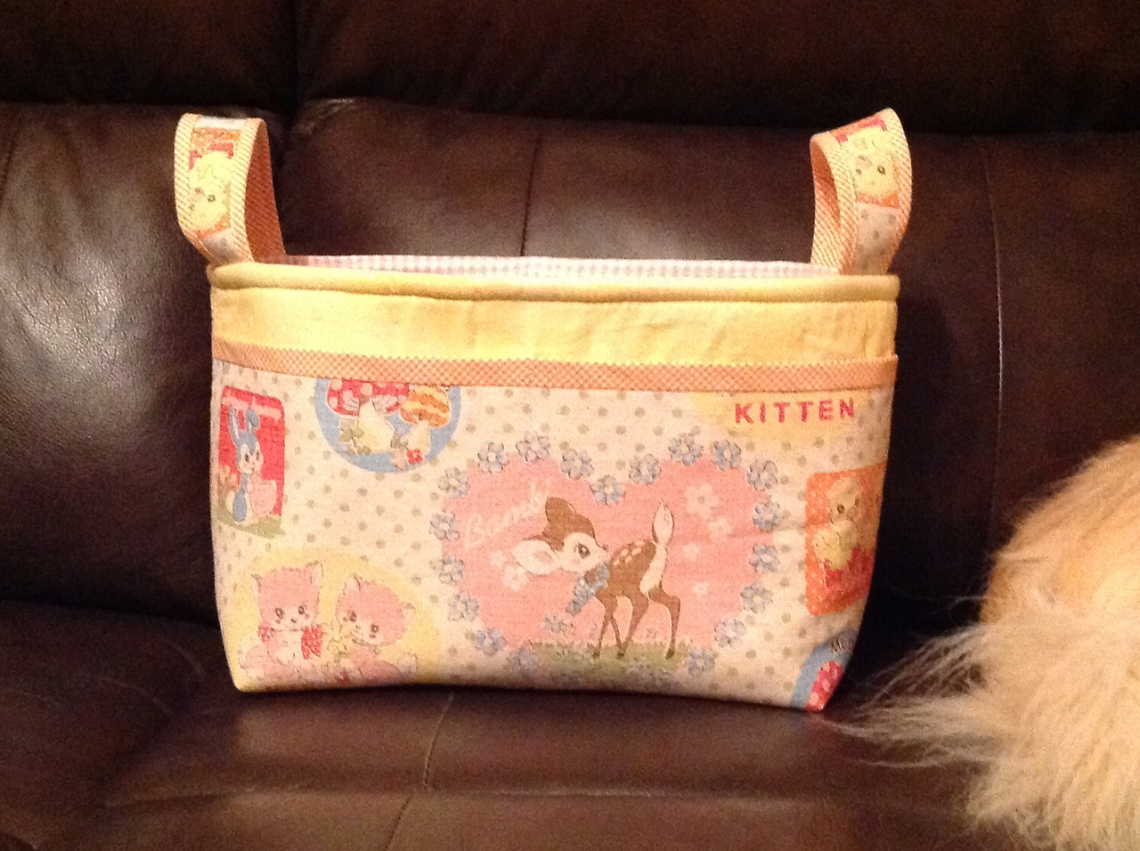 Noodleheads divided basket, front, vintage-look Japanese Bambi fabric