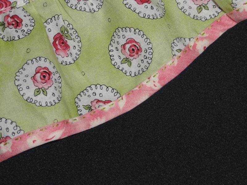 Closeup of Sashiko stitching on apron ruffle.