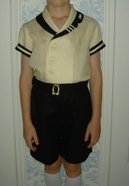 Jameson's ecru & black linen sailor suit