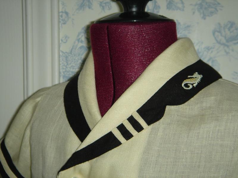 Closeup of left lapel, embroidery