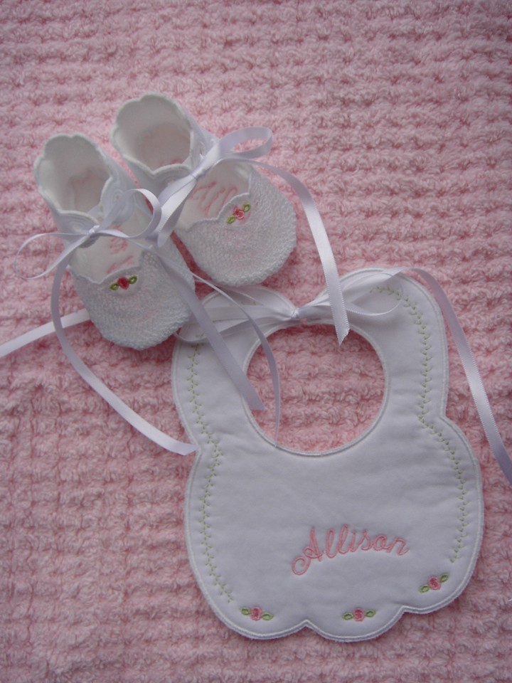 Allison's bib and lace toed booties