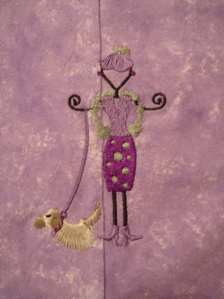 Embroidery on pj leg