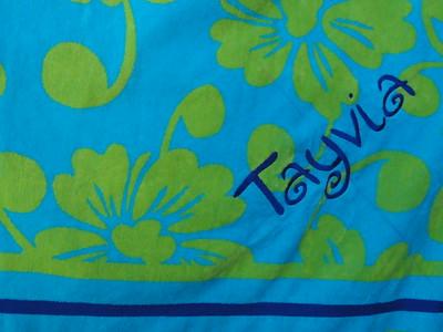 Closeup Tayvia's towel