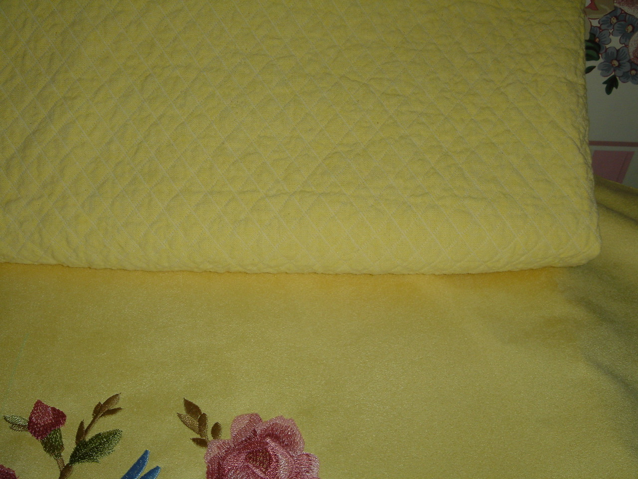 """Closeup of """"quilted"""" cotton pillow back"""