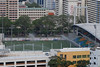 Water is being sprinkled onto the grass in Jalan Besar Stadium.