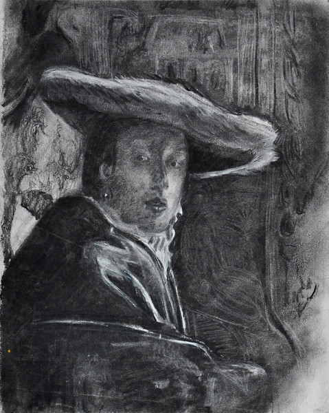 "9.  Vermeer, ""Lady in Red"", charcoal: 13.5 x 10.5""."