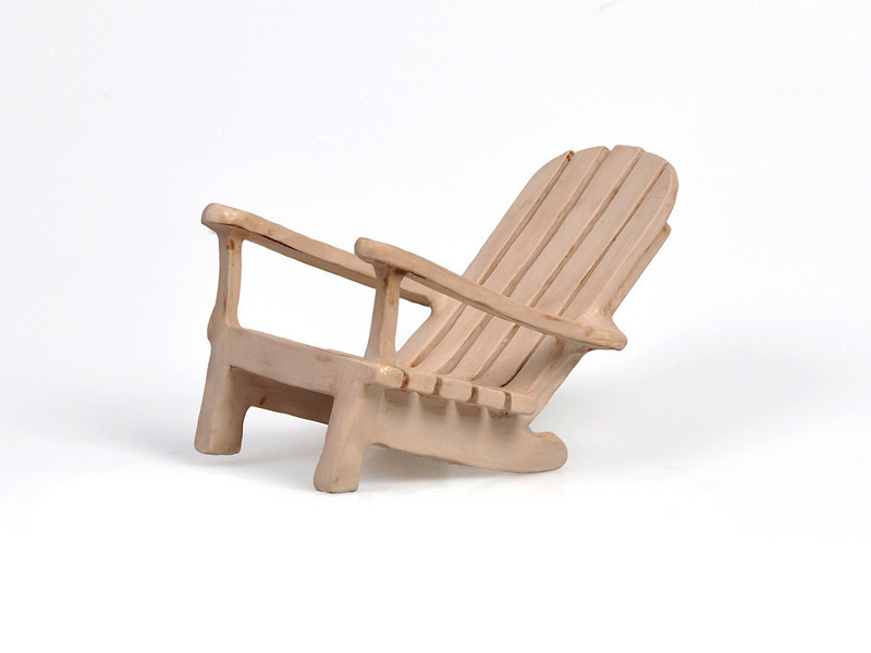 "6.  ""Adirondack Chair"", white earthenware, handbuilt: 5 x 7.5""."
