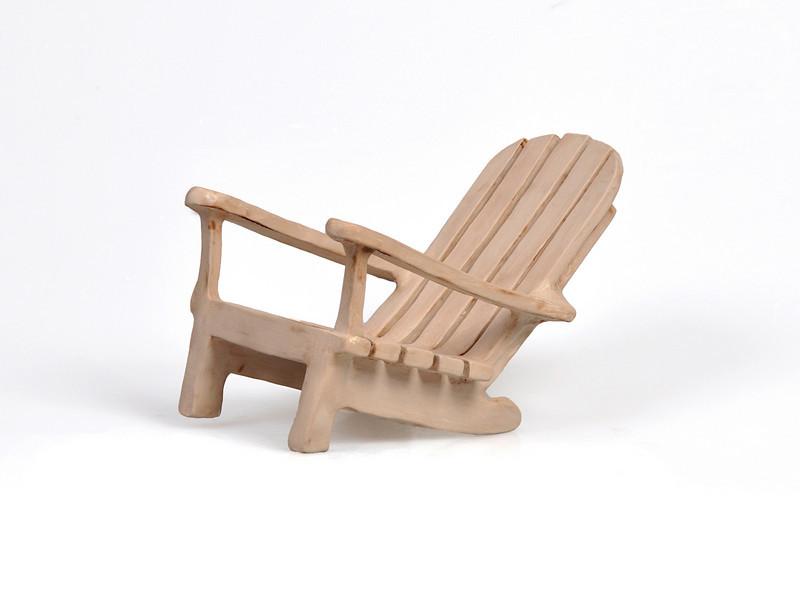 "6.  ""Adirondack Chair"", white earthenware, handbuilt: 5 x 7.5""."