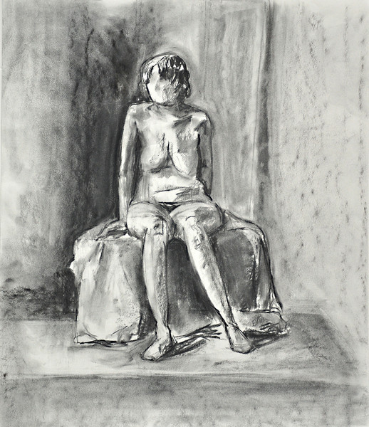 "7.  Seated Figure, charcoal: 21.5 x 18""."