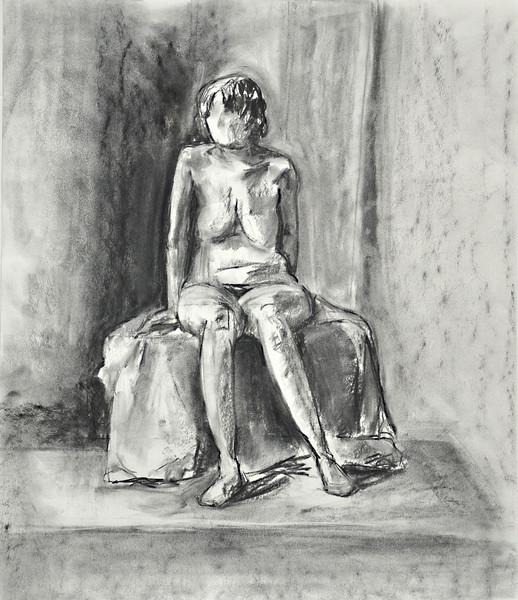 "7.  Seated Figure, charcoal: 21.5 x 18""."