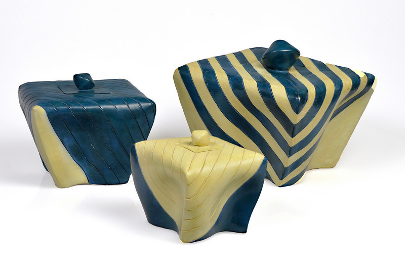 "6.  Three boxes, earthenware, handbuilt:  striped 8 x 9 x 9""; blue 6 x 6.25 x 6.25""; yellow 5 x 4.75 x4.75""."