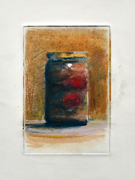 "2.  Pepper Jar, print, pastel: 6 x 4""."