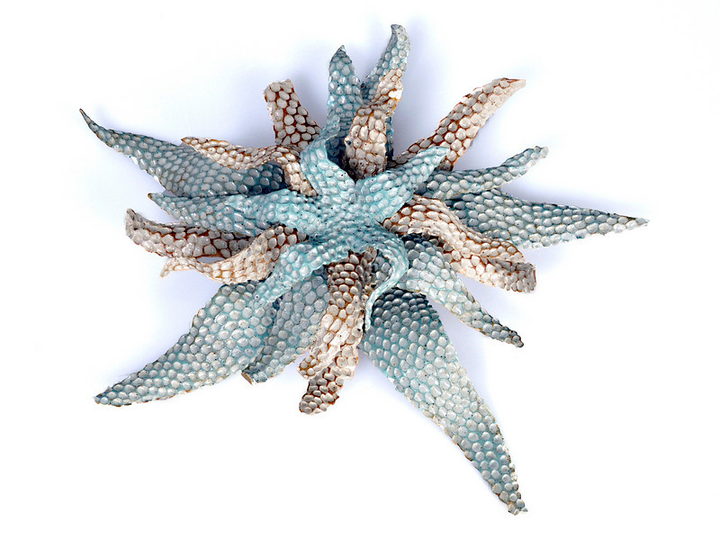 "6.  Starfish stoneware slips speckled sculpture:  3.5 x 19""."