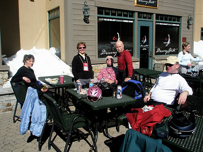 Sharon, Peg, Kevin, and Bruce at lunch at Kirkwood Village Ski Area - Feb 2008