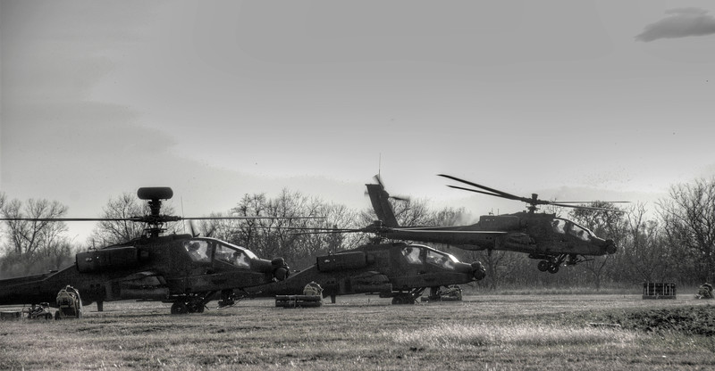 SAF Apaches at our Forward Operating Base (FOB). Re-arming before mission. Ex Forging Sabre 2008, Fort Sill.