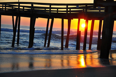 Sunrise under Nags Head Pier, Outer Banks NC