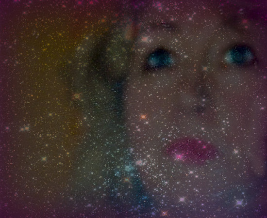 StarSeer: Selfportrait of another persona:  the one that looks into the stars and knows without knowing. Whether it is the dust in a closet or looking at the miriads of galaxies in the universe, it is a blending of macrocosm with the microcosm.