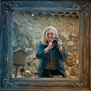 Self portrait in an old mirror and frame; Tourtour, (South of France May 2013)