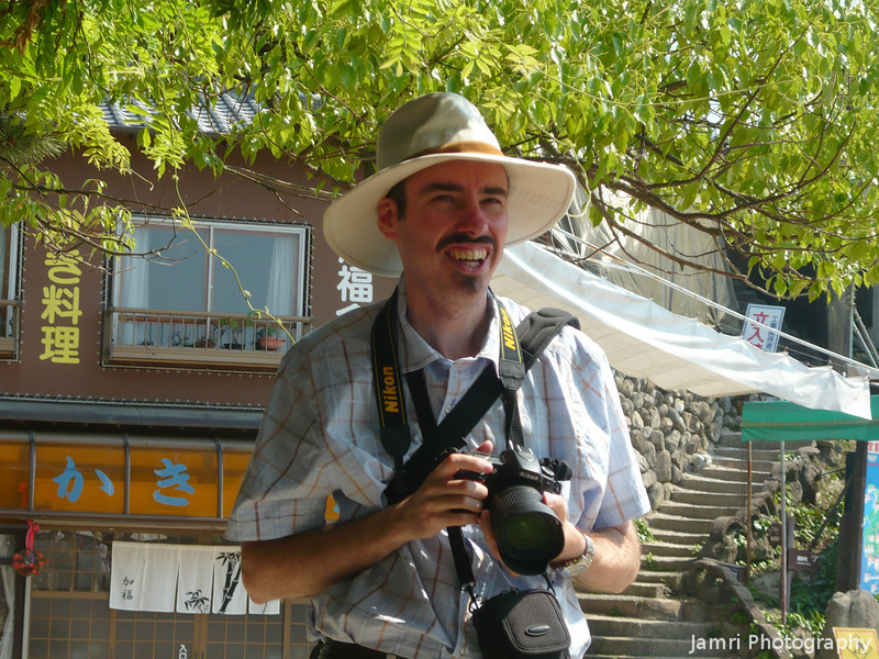 Happy Snapper - a Summer Portrait.<br /> On Miyajima (an island near Hiroshima) while on a day trip to Hiroshima with the Walkers.<br /> Photo by Bob Walker.