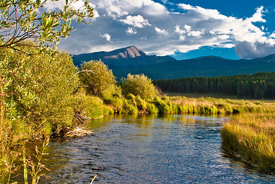 Mt. Elbert at sunset, river near Leadville, CO. August 2010