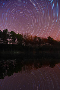 Star trails circling the North Star over Raleigh, NC