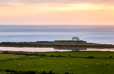 Sunset at St Cwyfan's Church, Church in the Sea, Anglesey, Wales