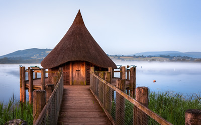 The Wizard's Hat shaped Hut at Llangorse Lake, Brecon Beacons, Wales